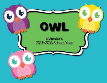 Owl Theme  Calendar 2017-2018 Communication Folder