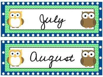 Owl Theme Calendar Headers