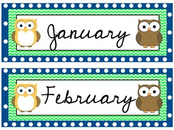 Owl Theme Calendar Headers