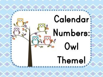 Owl Theme: Calendar Numbers