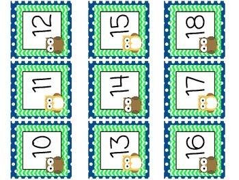 Owl Theme Calendar Numbers