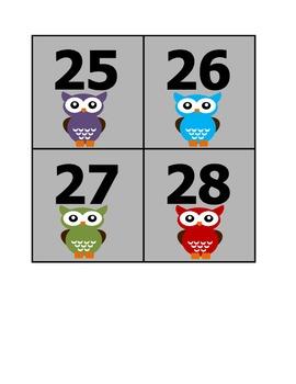 Owl Theme Calendar Numbers Multi-Colored