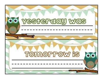 Owl Theme Calendar Pack