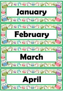 Owl Theme Calendar Set