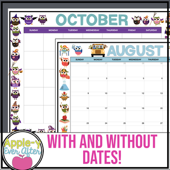 EDITABLE Owl Theme Calendar - Teacher/Parent Monthly Newsletter