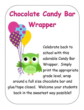 Owl Theme Candy Bar Wrapper