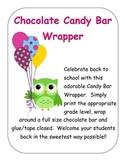 Owl Theme Candy Bar Wrapper