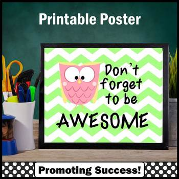 Owl Theme Inspirational Awesome Quote Poster Lime Green Cl