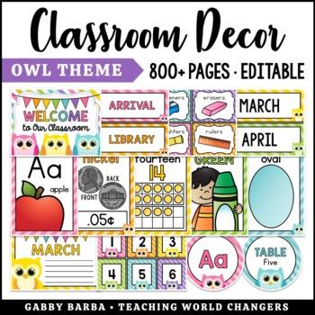 Owl Classroom Decor Bundle {500+ pages!}