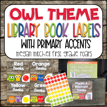 Owl Theme Classroom Library Book Labels with Primary Accents
