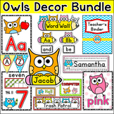 Owl Theme Classroom Decor Pack - Jobs Labels, Word Wall, Teacher's Binder etc