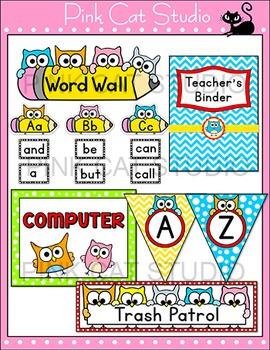 Owl Theme Classroom Decor Pack - Jobs Labels, Word Wall, Teacher's Binder etc