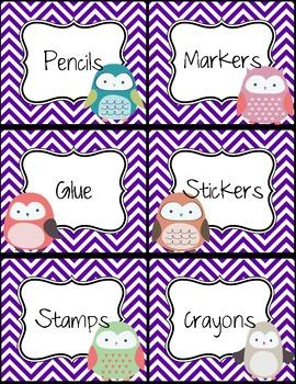 Owl Theme Classroom Labels
