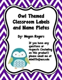 Owl Theme Classroom Labels
