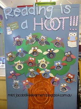 Owl Theme Classroom Library 'Reading is a hoot' banner