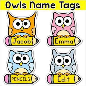 Owl Theme Labels and Name Tags - Editable