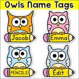 Owl Theme Student Name Tags - Editable Classroom Labels