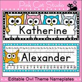 Owl Theme Classroom Desk Name Plates Editable