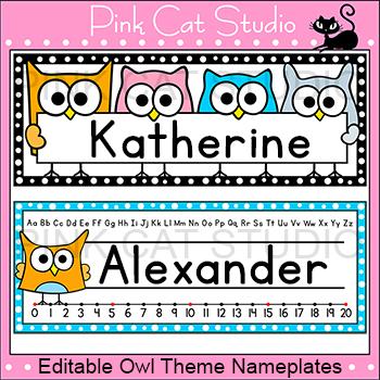 Name Plates Owl Theme Classroom Decor