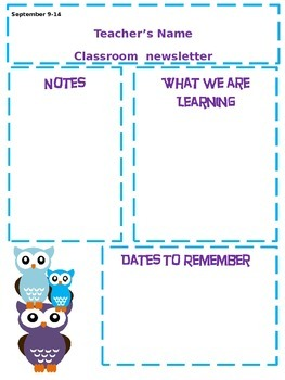 Owl Theme Classroom Newsletter
