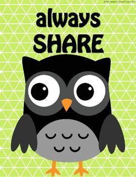 Owl Theme {Classroom Politeness Posters}