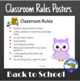 Back to School Classroom Rules Posters Owl Theme Decor