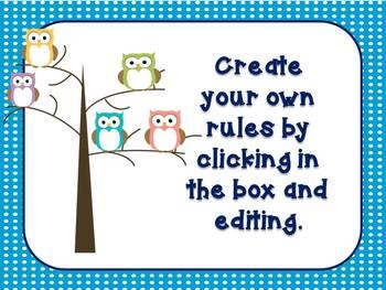 Owl Theme Classroom Rules {editable}