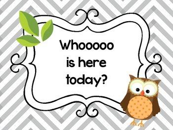 Owl Theme Classroom Set (teal, gray and green)