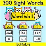 Sight Words Word Wall - Editable Owl Theme Classroom Decor