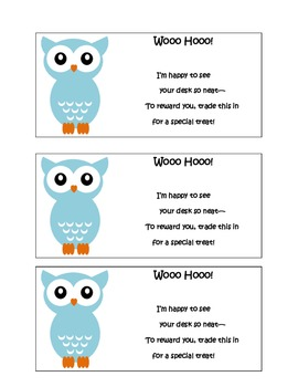 Owl Theme Clean Desk Reward