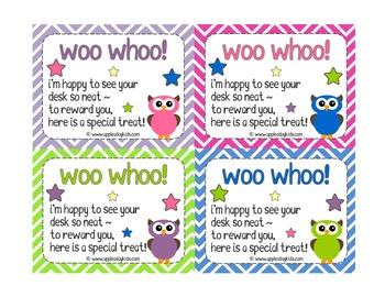 Owl Theme Clean Desk Reward Cards