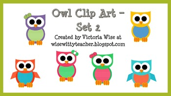 Owl Theme Clip Art - Set 2