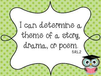 Owl Theme Common Core ELA Fifth Grade I Can Standards
