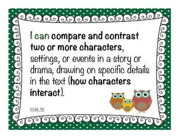 """Owl Theme - Common Core ELA """"I Can"""" Statement Cards 5th Grade"""