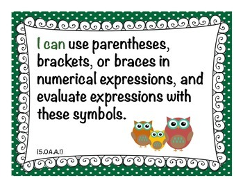 """Owl Theme - Common Core MATH """"I Can"""" Statement Cards 5th Grade"""