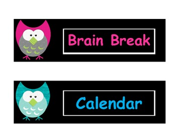 Owl Theme Daily Schedule Cards