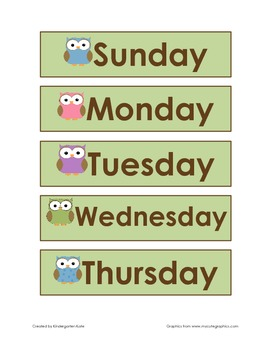 Owl Theme Days of the Week