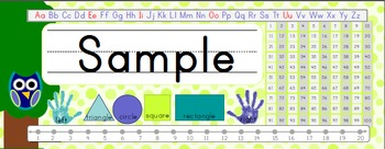 Owl Theme Desk Name Plates - Lime Green with 100 Number Chart