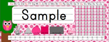 Owl Theme Desk Name Plates - Pink With 100 Number Chart