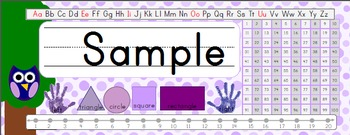 Owl Theme Desk Name Plates - Purple With 100 Number Chart