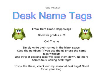 Owl Theme Desk Tags