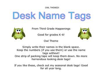 Owl Theme Desk Tags