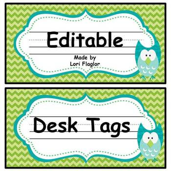 Owl Theme- Desk/Locker Tags
