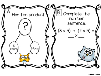 Owl Theme Distributive Property Of MultiplicationTask Cards