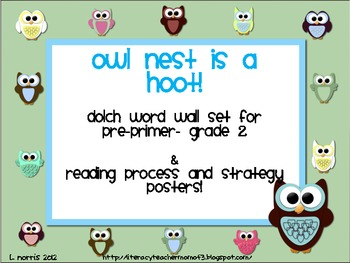 Owl Theme Dolch Word Wall Set Reading Strategies Posters P