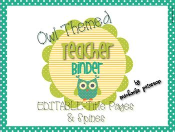 Owl Theme Editable Binder Covers/Inserts and Spines.
