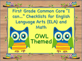 Owl Theme First Grade Common Core Checklist English Langua