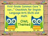 Owl Theme First Grade Common Core Checklist English Langua