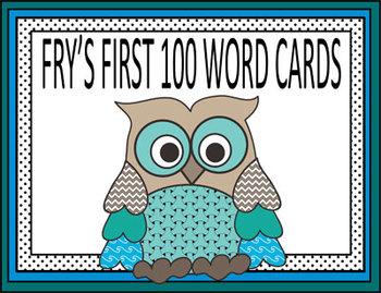 Owl Theme Fry's 100 Word Cards