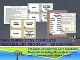 Owl Theme Grade Five CCSS Complete Vocabulary Program